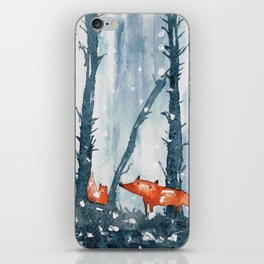 Foxes in forest iPhone Skin