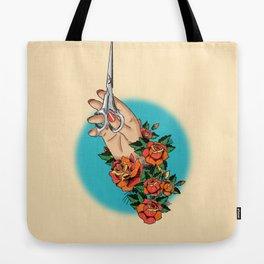 Tattoo-Hand, Scissors, Flowers Tote Bag