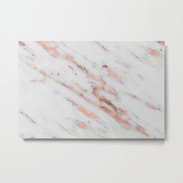 Marble - Rose Gold Marble with White Gold Foil Pattern Metal Print