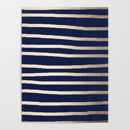 Drawn Stripes White Gold Sands on Nautical Navy Blue Poster