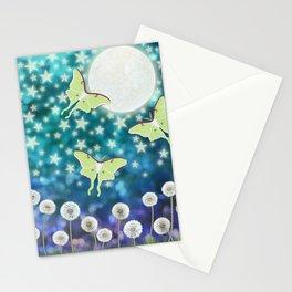 the moon, stars, luna moths, & dandelions Stationery Cards