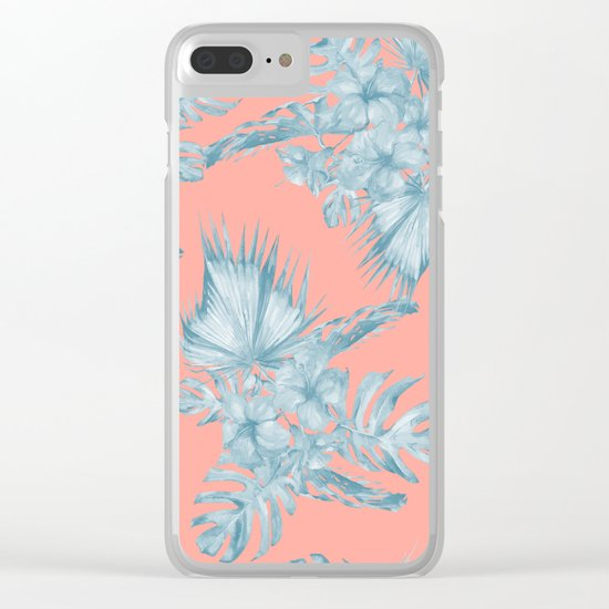 Dreaming of Hawaii Pale Teal Blue on Coral Pink Clear iPhone Case