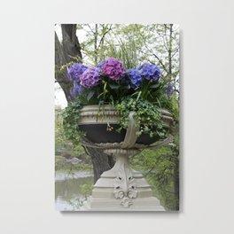 Bow Bridge Flower Pot Metal Print