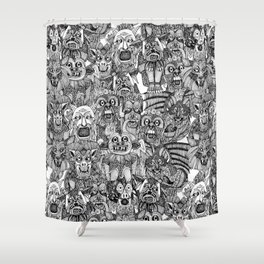 gargoyles black white Shower Curtain