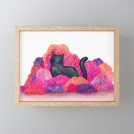 Pink Forest Black Cat Watercolor Framed Mini Art Print