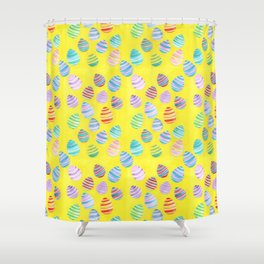 Easter Egg Watercolor Pattern -  Yellow Shower Curtain