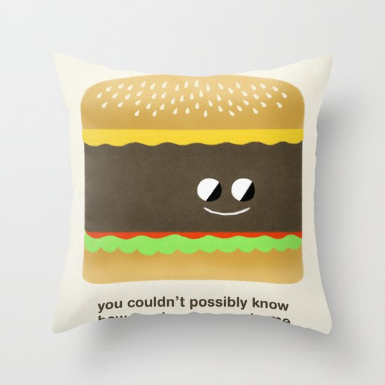 Cheesy Burger Throw Pillow