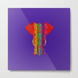 Rainbow Ganesha (Purple Background) Metal Print