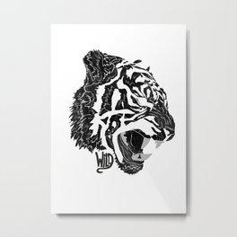 Wild (roar black and white) Metal Print