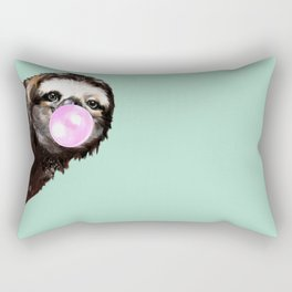 Bubble Gum Sneaky Sloth in Green Rectangular Pillow