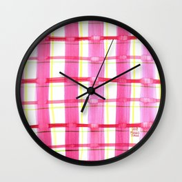 Pink Plaid Party Wall Clock