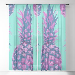 Modern colorful Pineapple pink blue turquoise background Sheer Curtain