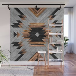Urban Tribal Pattern No.6 - Aztec - Concrete and Wood Wall Mural