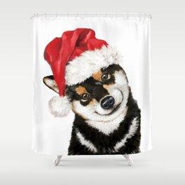 Christmas Black Shiba Inu Shower Curtain