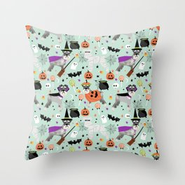 Schnauzer dog breed halloween costumes cute dog gift for fall autumn Throw Pillow
