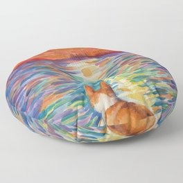 Corgi - sunset surfer Floor Pillow
