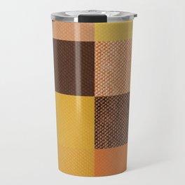 Fall Mustard Orange Golden Brown Checkered Gingham Patchwork Color Travel Mug