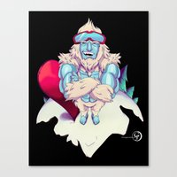 snowboard Canvas Prints featuring Snowboard Yeti [black background] by garciarts