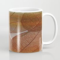 blankets Mugs featuring Painterly Amber And Brown Leaf Abstract by Judy Palkimas