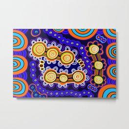 Authentic Aboriginal Art - Yugarabul Gathering Metal Print