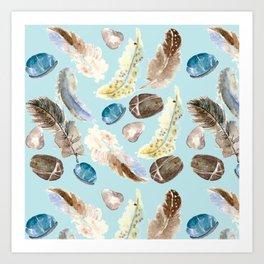 feather and rocks II Art Print