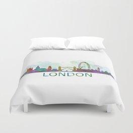 London UK Skyline HQ watercolor Duvet Cover