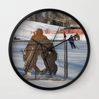 outdoor Wall Clocks featuring Outdoor hockey rink by RMK Creative