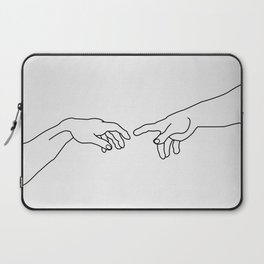 Hands showing the creation of Adam Laptop Sleeve