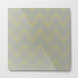 Simply Deconstructed Chevron Mod Yellow on Retro Gray Metal Print