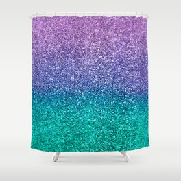 Lavender Purple & Teal Glitter Shower Curtain