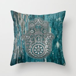 Silver Hamsa Hand On Turquoise Wood Throw Pillow
