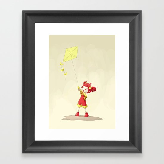 Girl with Kite Framed Art Print