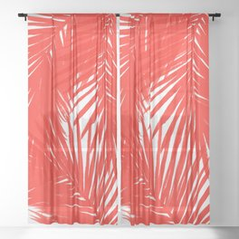 Palms Red Hot Sheer Curtain