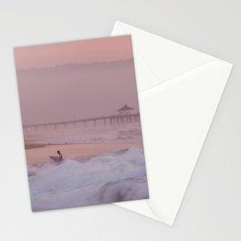 Manhattan Beach Surfer at Sunset Stationery Cards