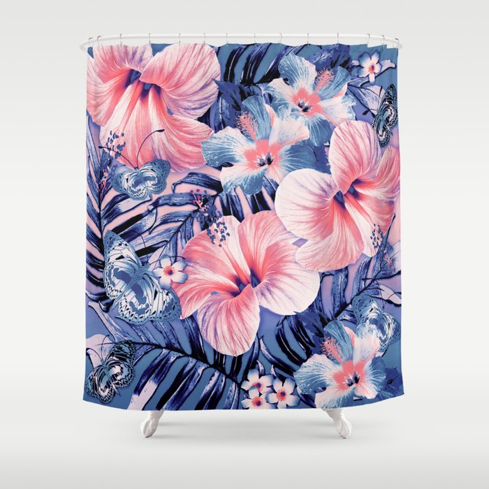 Coral Lapis Aloha Shower Curtain
