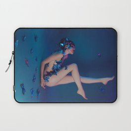 Butterfly Lady in Deep Blue Laptop Sleeve
