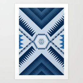 Blue Triangle Geometric Mountain Range Art Print