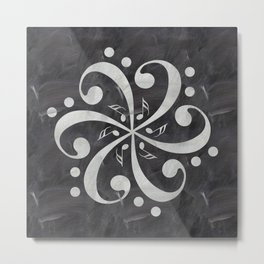Music mandala on chalkboard Metal Print