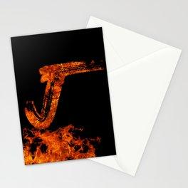 Burning on Fire Letter J Stationery Cards