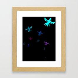 Dog, bird, tree. Framed Art Print