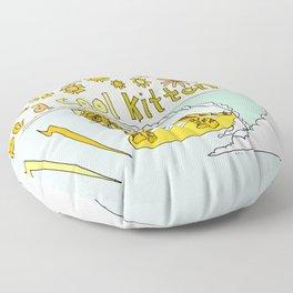 be a cool kitten // tiger cub shreds // retro surf art by surfy birdy Floor Pillow