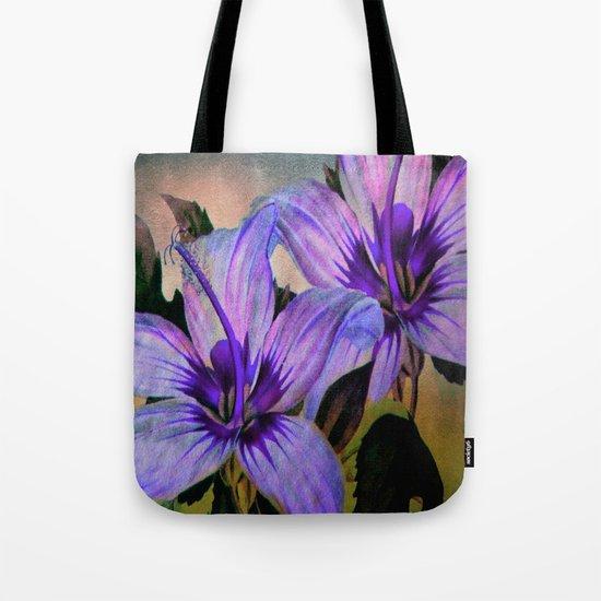 Vintage Painted Lavender Lily Tote Bag
