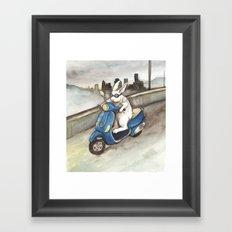Blue Scooter Framed Art Print