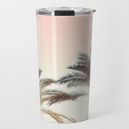 Modern California Vibes pink sky blue seascape tropical palm tree beach photography Travel Mug