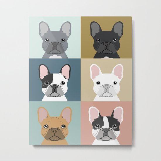 French Bulldog portraits pattern dog person gift love animal pet puppy frenchie bulldog valentines Metal Print