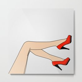 Woman wearing beautiful red shoes or stilettoes Metal Print