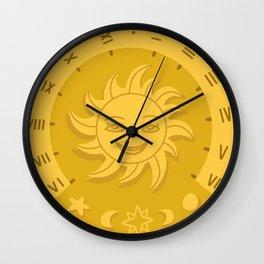 Sun Dial Yellow Wall Clock