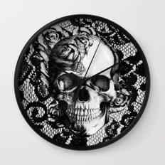 Rose skull on black lace base. Wall Clock