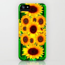 SPRING GREEN EMERALDS & YELLOW FLOWERS  ART iPhone Case