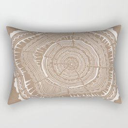 Tree Rings – White Ink on Kraft Rectangular Pillow